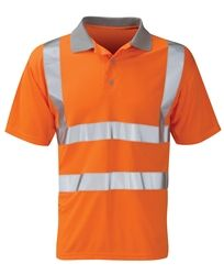 Rail Hi Vis Orange Polo Shirt Short Sleeves Front placket with buttons Fabric: 100% polyester pique knit Colour: Hi Vis Orange Conforms To: RIS 3279-TOM (Previously GO/RT 3279)