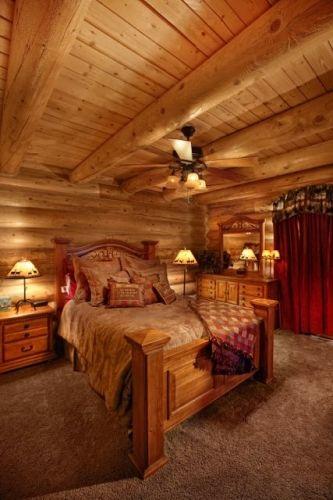 Cozy Bedroom In Log Cabin