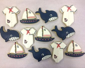 Nautical Baby Shower Cookies, Sailor Onesie Cookies, Baby Shower Cookies, Sailboat Baby Shower Cookies, Whale Cookies for Showers