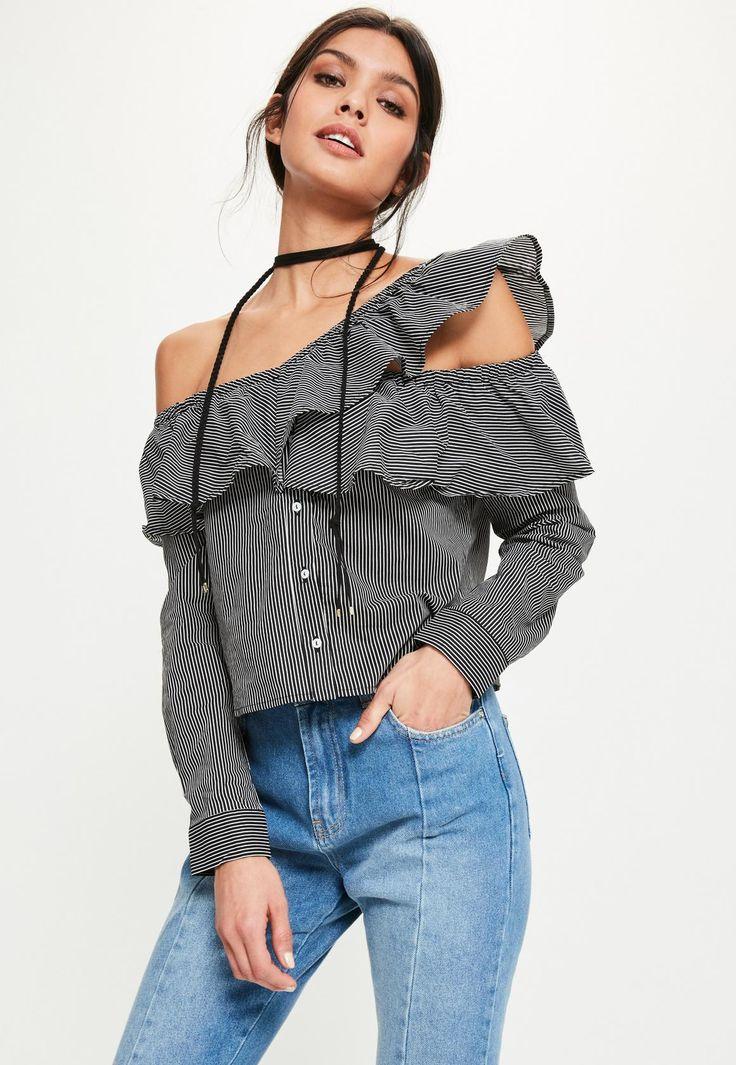 Missguided - Black Deconstructed Frill Bardot Stripe Shirt