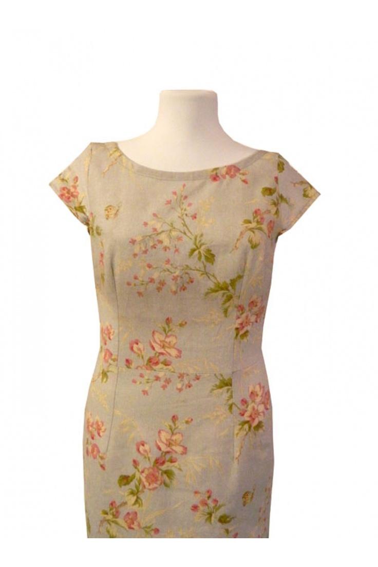 Rochie Handmademylove vintage spring din in cu imprimeu floral - Marimi 36, 38 , 40 si 42