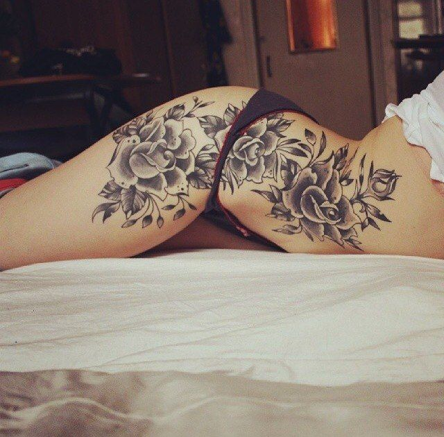 flower side hip tattoos - photo #8