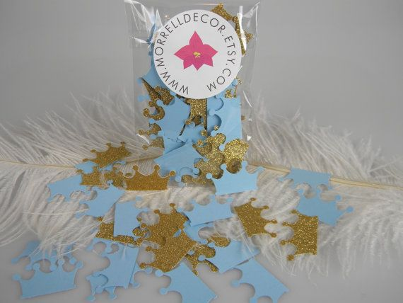 Kleine prins kroont gouden Glitter & Baby blauwe Confetti Baby
