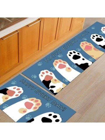 Kitchen Floor Mat Cartoon Lovely Palms Pattern Antiskid Washable Door Mat