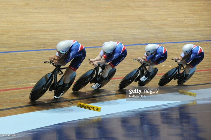 #TissotUCITrackWC Steven Burke, Edward Clancy, Oliver Wood and Kian Emadi of Great Britain compete in the Mens Final Pursuit during the TISSOT UCI Track Cycling World Cup at National Cycling Centre at National Cycling Centre on November 11, 2017 in Manchester, England.