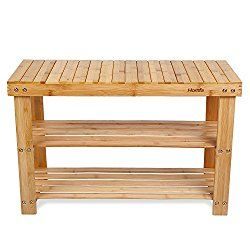homfa natural bamboo shoe rack bench 2 tier shoe organizer entryway seat storage shelf hallway furniture