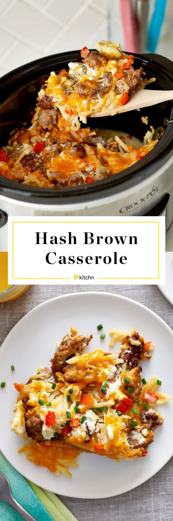 Slow Cooker or Crockpot Hash Brown Casserole. This make ahead overnight breakfast casserole for a crowd cooks in your crock pot! Need ideas for brunches or breakfasts for parties? You'll need frozen shredded hash brown potatoes, eggs, cream cheese, pork sausage, sour cream, onion, bell pepper, and cheddar cheese.