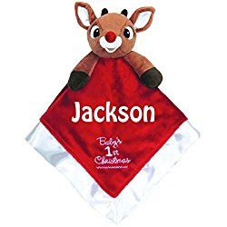 Kids Preferred Personalized Baby's First Christmas Rudolph the Red Nose Reindeer Blanky Blanket - 14 Inches