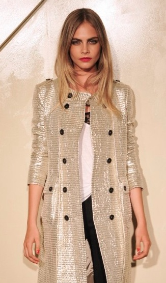 Cara Delevingne wearing metallic Burberry- fierce