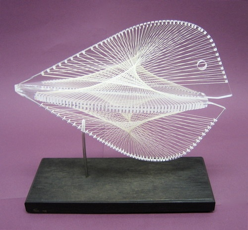 Mid century modern abstract lucite string art fish for Fish string art