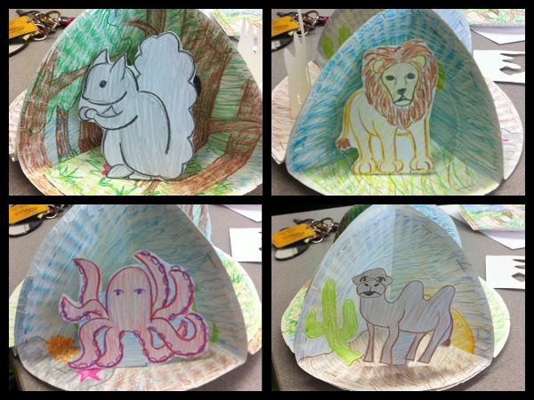 Second Grade Animal Habitat Activity. Habitat Diorama. Kids draw four different habitats and then choose from four different animals that go in each habitat.