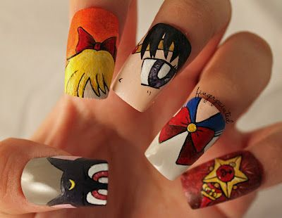 Sailor Moon Nail Art featuring Luna, Sailor Venus, Sailor Mars, Sailor Moon, and Moon's Wand by lexi at fingerpaintedblog.  Amazing!  #sailormoonnailart