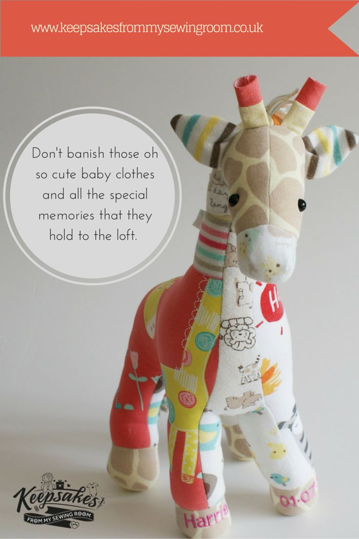 A gorgeous Giraffe Keepsake hand made from a little girl's first special baby outfits. Baby grows, dresses, vest and some tops were used to create this beautiful Giraffe. A great way to remember all those baby memories. Memory Teddys also make brilliant first birthday presents, christening presents and are very popular for Naming Day ceremonies :-)