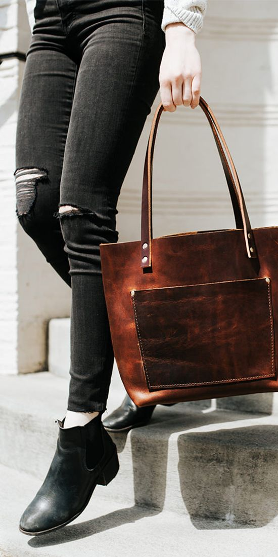 Handmade artisan leather totes designed in Portland just