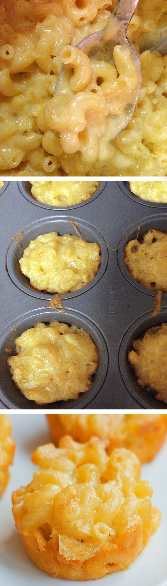 "Mac & Cheese To Go – from @choccoveredkt – Bake them in a muffin tin for an easy ""on the go"" snack... Great for lunchboxes too...  http://chocolatecoveredkatie.com/2016/02/01/baked-mac-cheese-cups-go/"