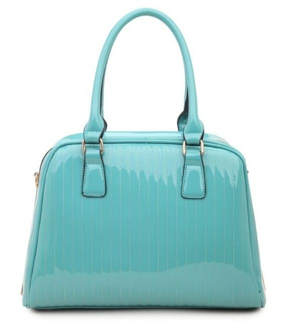 BLUE - Classic Cora Plain Patent Tote Handbag With Straight Lining Detail - The Handbag Hut