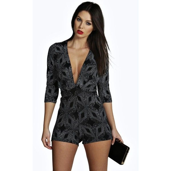 Boohoo Night Jenny Glitter Soft Touch Deep Plunge Playsuit ($35) ❤ liked on Polyvore featuring jumpsuits, rompers, silver, black romper, plunge romper, black rompers, playsuit romper and glitter romper