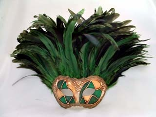 Si Lucia Incas Arlecchino Green Tiger Feathers Mask. Biggs Ltd. Gallery. Price $165. 1-800-362-0677.