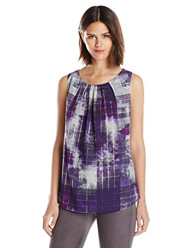 Wear To Work Womens Petite Watercolor Plaid Shell  www.weartowork.us #weartowork #Blouse