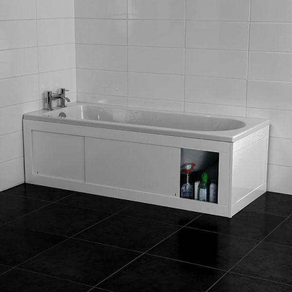 Croydex Unfold 'N' Fit White Bath Panel & Lockable Storage - Front 1680mm