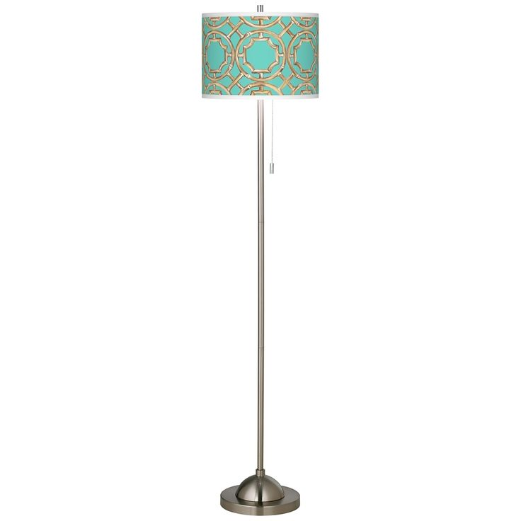 Teal Bamboo Trellis Brushed Nickel Pull Chain Floor Lamp - Style # 99185-5M908