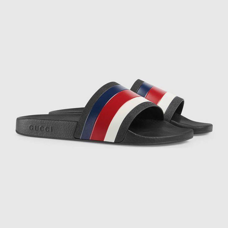 1cd4bef3f $210 GUCCI Rubber slide sandal - SOLD by GUCCI - affiliate - The slide  sandal features a Sylvie Web detail across the strap. The blue, red and  white stripe ...