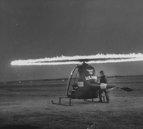 """""H32 jet helicopter is propelled by blazing ramjet engines on blade tips at Camp Rucker Army Aviation Center. (1956)"" (via)"