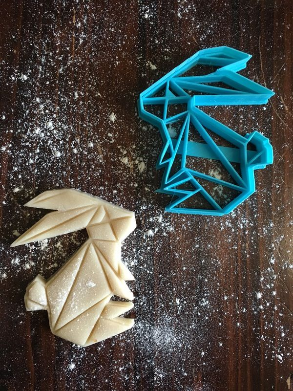 Image of Geometric Bunny Cookie Cutter Stamp