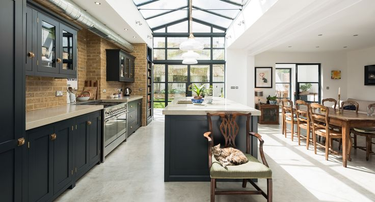 The Balham Kitchen | deVOL Kitchens Love the combination of Cupboard colour, surfaces, brick and white walls