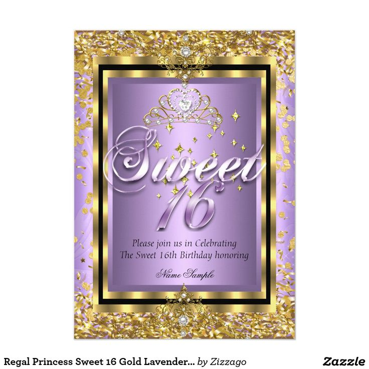 Regal Princess Sweet 16 Gold Lavender Purple Party 5x7 Paper Invitation Card