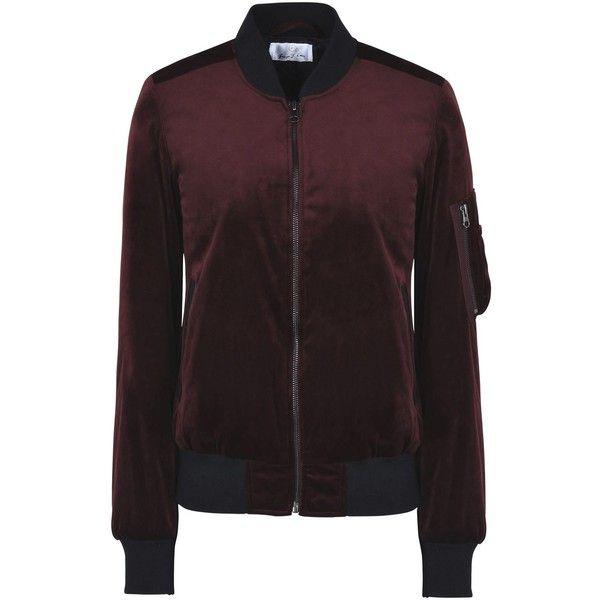 George J. Love Jacket (2,095 EGP) ❤ liked on Polyvore featuring outerwear, jackets, maroon, zipper jacket, single breasted jacket, velvet padded jacket, maroon jacket and maroon bomber jacket