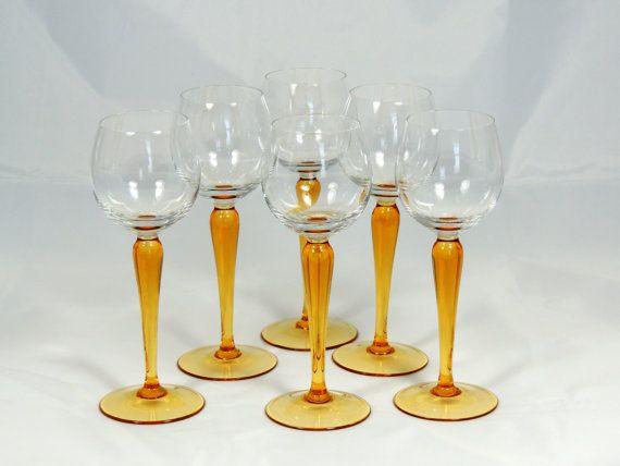 Amber Long Stem Wine Glasses 6 Glasses by SimplyCharmingukshop, £15.00