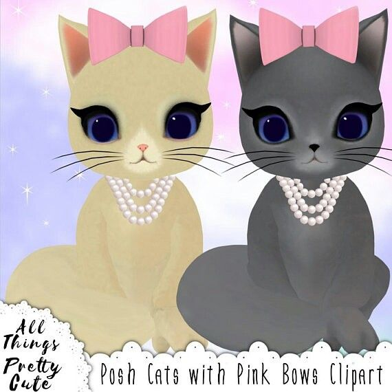 Posh Kitty Cats With Pink Bows Clipart Commercial Use The