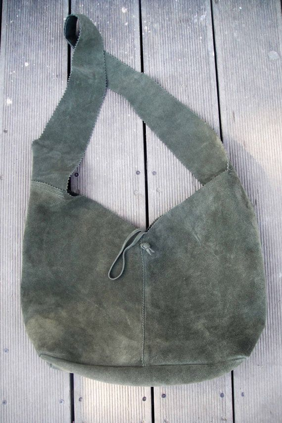 Suede leather boho bag in khaki by byCACHE on Etsy