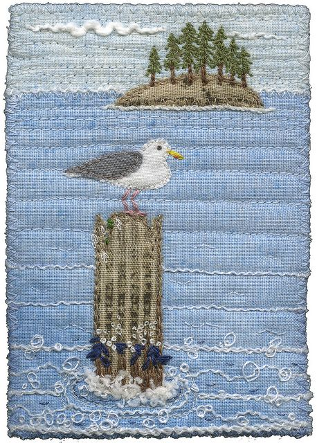 Seagull with a View by Kirsten Chursinoff.  Appliqué + machine (?) and hand…