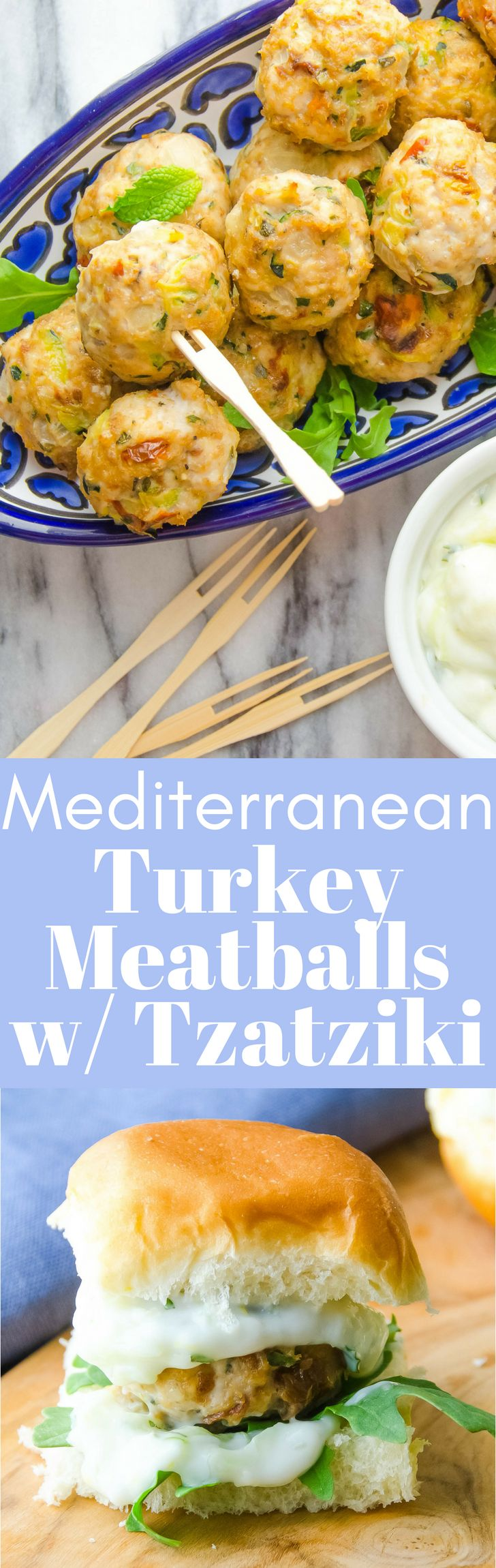 A tasty hors d'oeuvre that serves a crowd! Mediterranean Turkey Meatballs with Tzatziki sauce will be the star of your next party! Get the easy recipe!