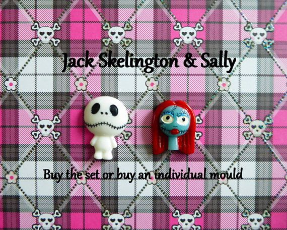 Jack & Sally Halloween Silicone Mold Cake Tool Fondant Chocolate Candy Cupcake Topper Polymer Clay DIY Craft Tool Craft Mold