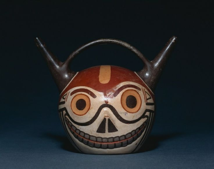 Skull Vessel, 500-900  Wari (Pachacamac) style, Middle Horizon, Epoch 2