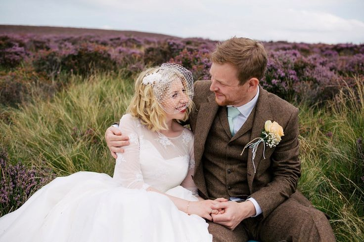 Bride and Groom from a 1950's inspired dress for her rustic wedding at Danby Castle in North Yorkshire. Photography by http://www.stottandatkinson.com/
