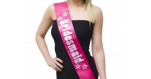 #Bridesmaid Hot Pink Sash - One Size - Each of these pretty hot pink satin sashes has Bridesmaid printed in holographic silver writing with star details so it really stands out - #BridesmaidSashes are perfect for any #HenParty.