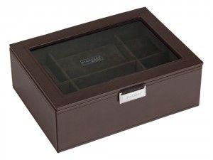 A very stylish Mens Watch Display Box Stackers Brown Executive. You choose your own engraving text, font and text size. The box is engraved on the glass lid which looks very neat. Stores 8 watches.