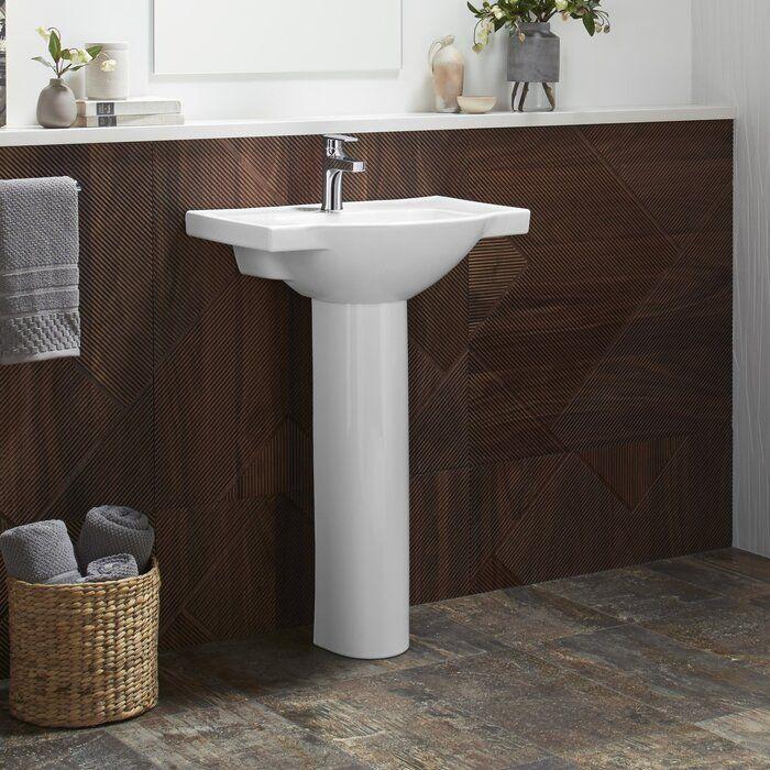 Veer Ceramic Pedestal Bathroom Sink With Overflow Drop In