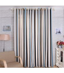 Modern Cotton and Linen Blend Classic Blue Striped Curtains -USD $99.99