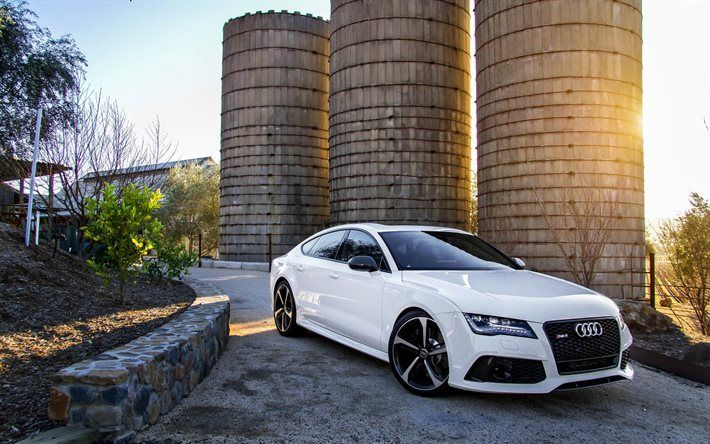 Audi RS7, 2016 cars, tuning, supercars, white audi