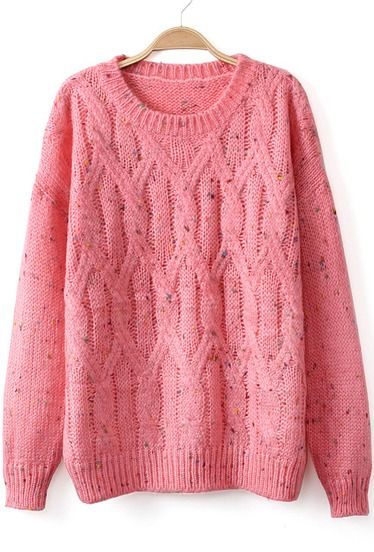 Red Long Sleeve Cable Knit Sweater pictures