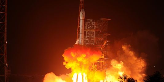 Echoes of Wavelength - China creating its own GPS constellation.  http://www.lemonde.fr/asie-pacifique/article/2015/07/26/lancement-de-deux-satellites-pour-le-rival-chinois-du-gps_4698870_3216.html
