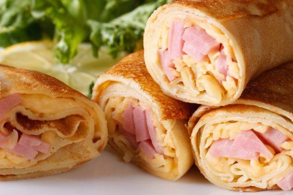 Pancakes with ham and cheese
