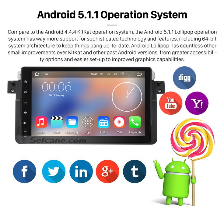 Android 5.1.1 Operation System 9 inch HD 1024*600 touchscreen for 1998-2006 BMW 3 Series M3 E46 316i 318i 320i 323i 325i Android 5.1.1 Radio GPS Navigation System with Quad-core CPU WiFi Bluetooth Mirror Link