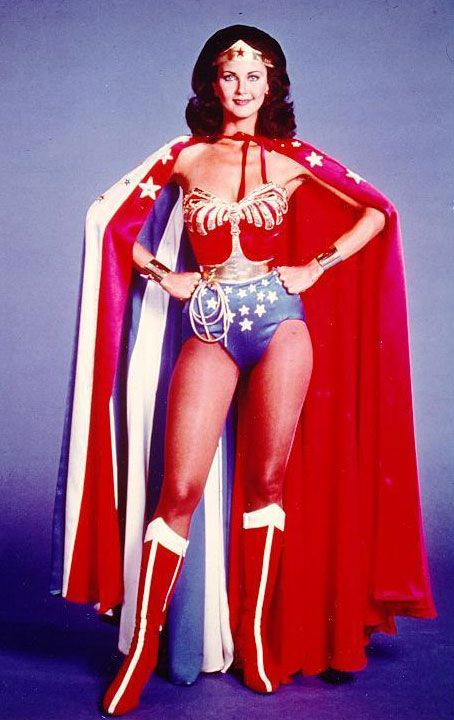 wonder woman lynda carter. Maria wants new longer capes with lots of piece work. I'm thinking about wavy stripes.