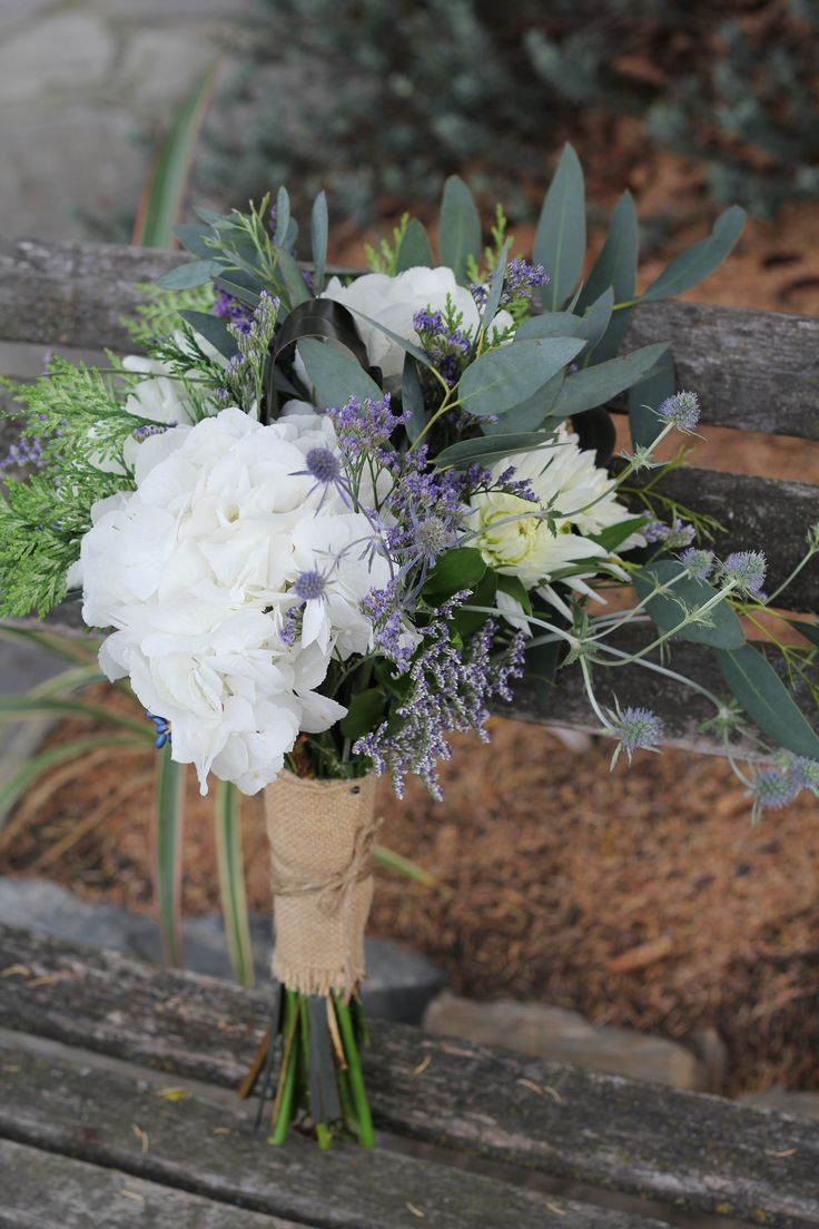 vintage bouquet wrapped in burlap/hessian www.wanakaweddingflowers.co.nz/gallery/